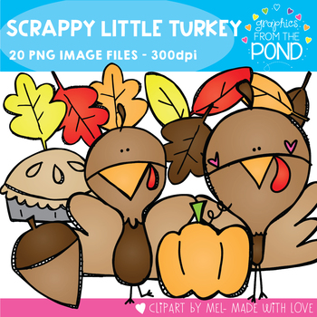 Scrappy Little Turkey Clipart Set