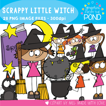 Scrappy Little Witch Kid Clipart