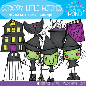 Scrappy Little Witches Clipart