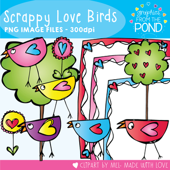 Scrappy Love Birds -  Clipart Pack!