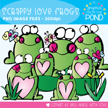 Scrappy Love Frogs -  Clipart Pack!