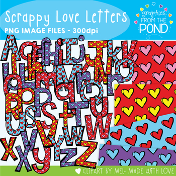 Scrappy Love Letters Clipart Pack!