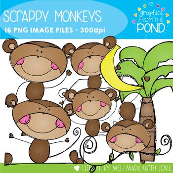 Scrappy Monkeys Clipart