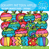 Scrappy Patterned Apples Clipart Set