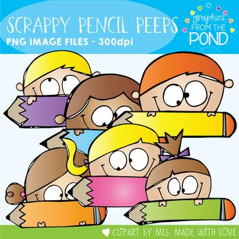 Scrappy Pencil Peeps Clipart Set