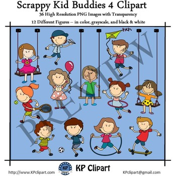 Scrappy Playing Kid Buddies 4 Clipart