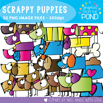 Scrappy Puppies Clipart