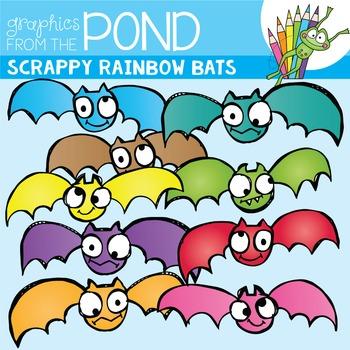 Scrappy Rainbow Bats -  Clipart for Teachers and Halloween