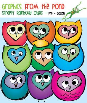 Scrappy Rainbow Owls Clipart