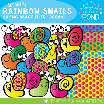 Scrappy Rainbow Snails Clip Art and Digi Papers
