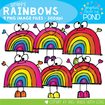 Scrappy Rainbows Clipart
