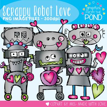 Scrappy Robot Love - Clipart Set for Teachers
