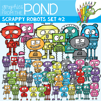 Scrappy Robots Set 2 - Clipart - Graphics From the Pond