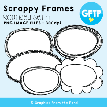 Scrappy Round Frames Set #4 {Clipart}