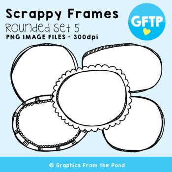 Scrappy Round Frames Set #5 {Clipart}