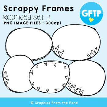 Scrappy Round Frames Set #7 {Clipart}