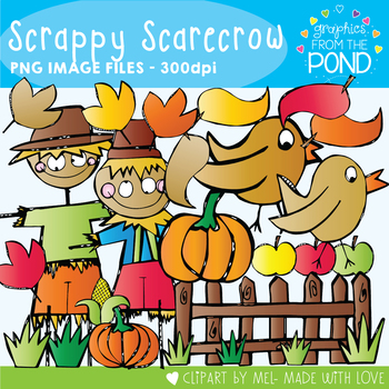 Scrappy Scarecrow -  Clipart for Teachers and Classrooms