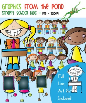 Scrappy  School Kids Clipart - Scrappy Graphics From the Pond