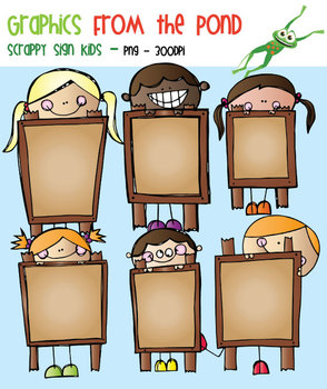 Scrappy Sign Kids - Clipart for Teachers