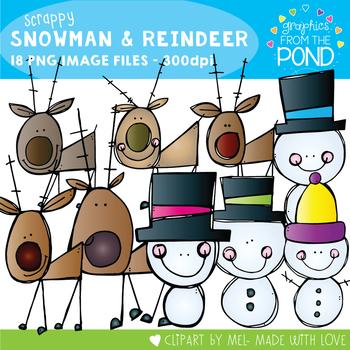 Scrappy Snowmen and Reindeers Clipart