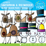 Scrappy Snowman and Reindeers Clipart