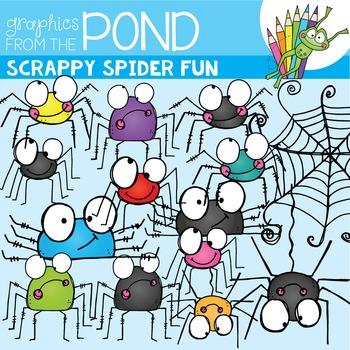 Scrappy Spider Fun Clipart Set