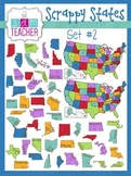 Scrappy States: United States Clip Art with Names & Capitals
