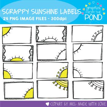 Scrappy Sunshine Labels - Clipart for Teachers