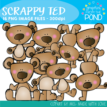 Scrappy Ted - Teddy Bear Clipart