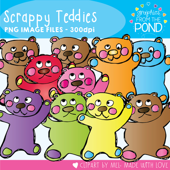 Teddy Bear Clipart - Scrappy Teddies