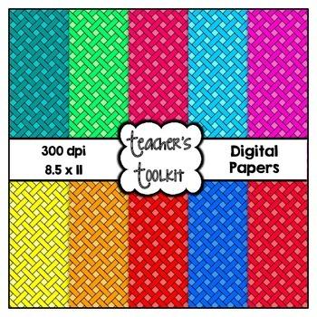 Scrappy Weave Digital Background Papers {8.5 x 11} Clip Art CU OK