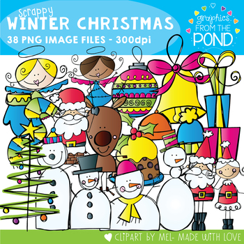 Scrappy Winter Christmas Clipart