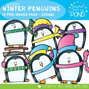 Scrappy Winter Penguins Clipart