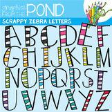 Scrappy Zebra Letters {Clipart}