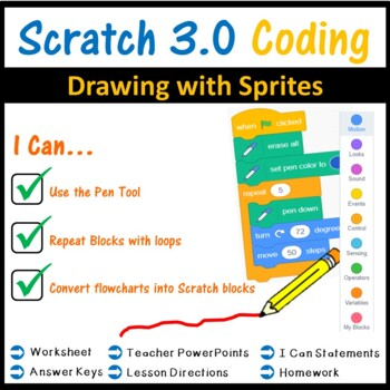 Scratch 2.0 Programming - Drawing with Sprites Lesson (Updated 2018)
