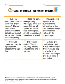 Scratch Checklist for project success.