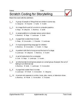 Scratch Coding for Story Telling multiple-choice worksheets