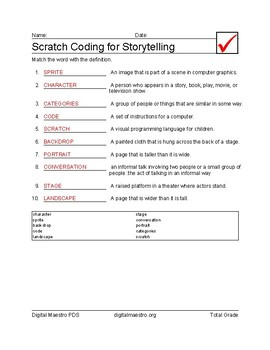 Scratch Coding for Story Telling vocabulary matching worksheet