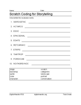 Scratch Coding for Story Telling word jumble worksheet