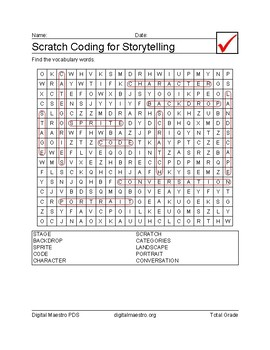 Scratch Coding for Story Telling word search worksheet