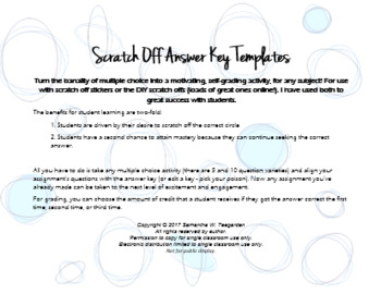 Scratch Off Answer Key TEMPLATES