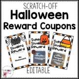 Scratch Off Halloween Reward Prize Coupons Editable BW and