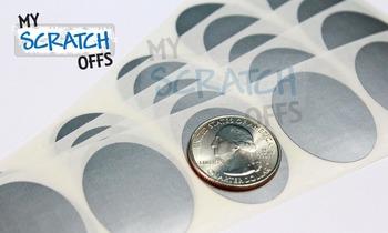 """Scratch Off Label - 1.3"""" x 1"""" Silver Oval Scratch Off"""