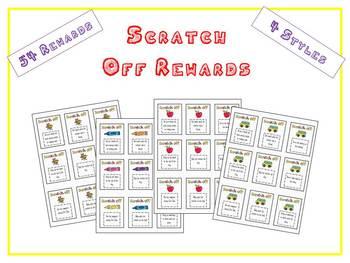 Scratch Off Reward Coupons! 54 Behavior Management Cards - 4 Styles + Goal Sheet