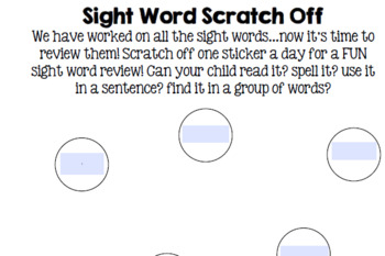 Scratch Off Sight Words - 11 word template