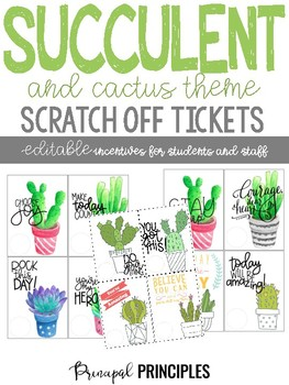 Scratch Off Tickets- Editable Cactus, and Succulent Theme