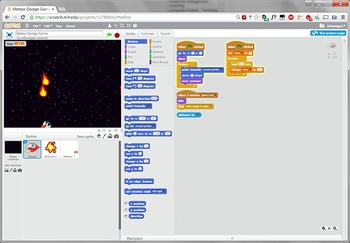 Scratch Programming Project Video Tutorial - Meteor Dodge Game