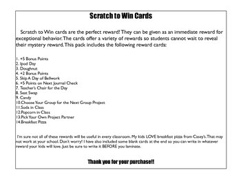 """Scratch to Win Reward """"Lottery"""" Cards"""