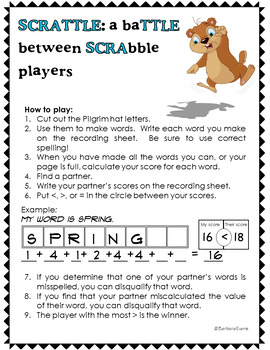 HOLIDAY MATH and LITERACY CENTER Groundhog Day SCRATTLE Differentiated