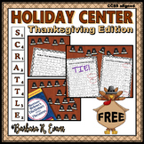 HOLIDAY MATH and LITERACY CENTER Thanksgiving SCRATTLE Differentiated